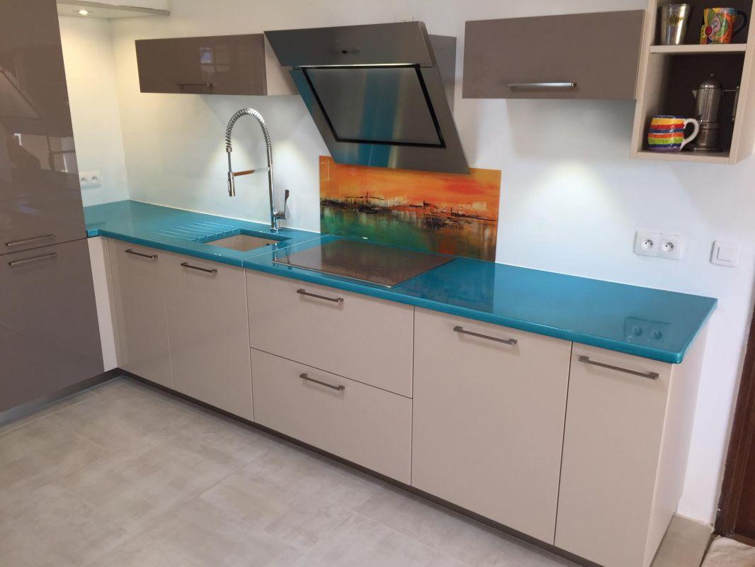 Pierre Bleue Plan De Travail Cuisine cuisine en pierre de lave émaillée couleur bleu de chine à