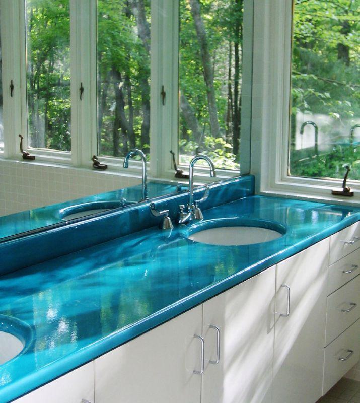Plan Salle De Bain En Lave Emaillee Sur Mesure Couleur Turquoise Fabricant De Mobilier En Pierre De Lave Emaillee Lavastone
