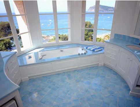salle de bains avec contour baignoire, plan vasques et ...